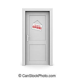 Closed Grey Door With Door Sign