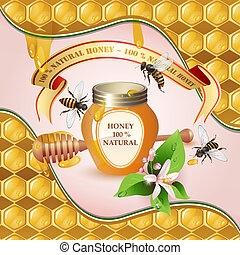 Closed honey jar, wooden dipper, bees, ribbon and flower over background with honeycombs and drops