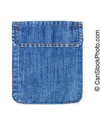 Closed jeans pocket isolated on white.