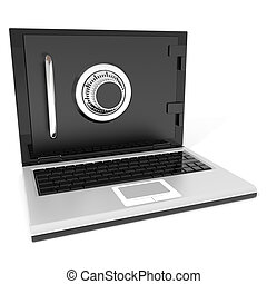 Closed laptop safe. Computer generated image.