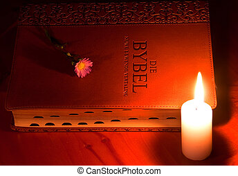 closed leather Bible by candle light with small flower on wooden table