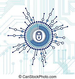 Closed Lock Access Technology Concept Of Data Protection And Security
