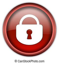 Closed lock button - Closed lock round glossy button...