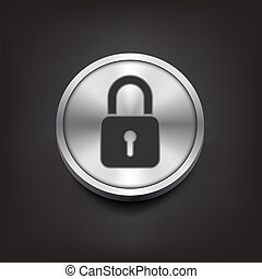 Closed lock icon on silver button
