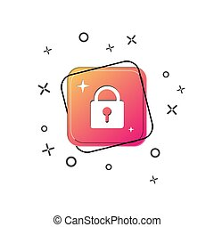 Closed lock icon. Purple square button. Flat design