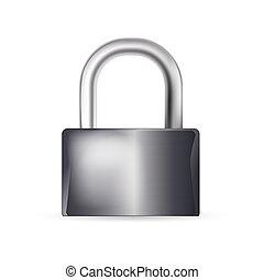 closed lock on white background