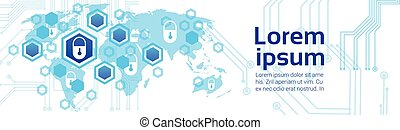 Closed Lock World Map Background Access Technology Concept Of Data Protection And Security Horizontal Banner