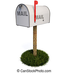 mailbox - Closed mailbox with a raised flag. with clipping...