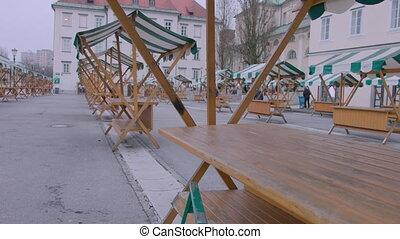 Closed and empty outside market place to Coronavirus in the Ljubljana city, Slovenia.