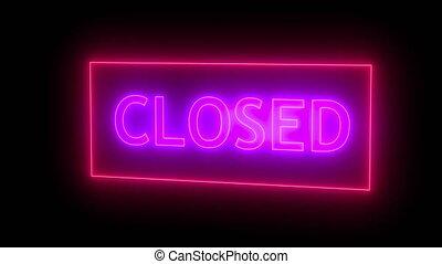 Closed neon sign. 3d rendering. Seamless loop