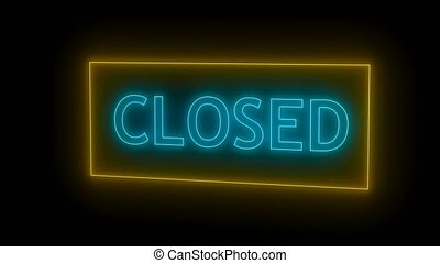 Closed neon sign. 3d rendering. Seamless loop