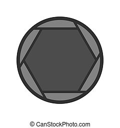 Closed objective icon, flat style