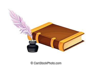 Closed Old Book in Hard Cover with Quill Rested in Inkstand ...