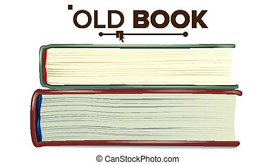 Closed Old Book Set Vector. Education, Literature Textbook. Isolated Illustration