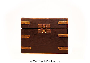 closed old chest with metal lock