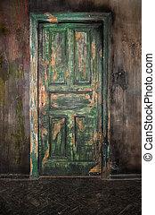 Closed old wooden door