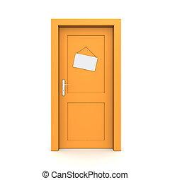 Closed Orange Door With Dummy Door Sign - single orange door...