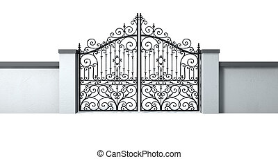 Closed Ornate Gates And Wall - A solid plastered garden wall...