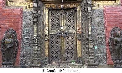 closed ornate temple in Katmandu