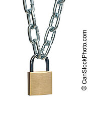 Closed padlock and chain