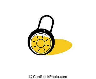 Closed Padlock Flat Icon on white background in vector illustration