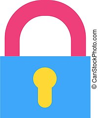 Closed padlock flat vector icon