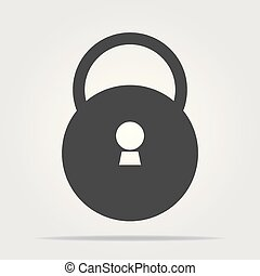 Closed padlock icon with shadow on a white background, stylish vector illustration