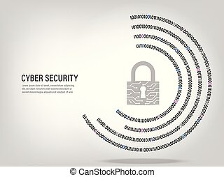 Closed Padlock on digital binary code circle background.