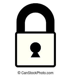 closed padlock on white background