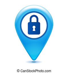 closed padlock pointer icon on a white background
