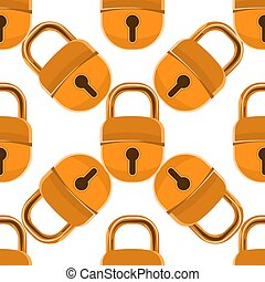 Closed padlock seamless pattern with cartoon style. Vector illustration.