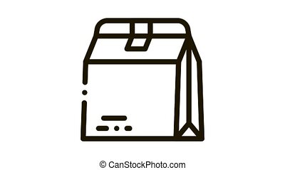 Closed Paper Bag For Food Packaging animated black icon on white background