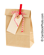 closed paper bag with tag