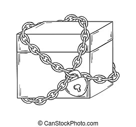 closed paper box with chain and loc