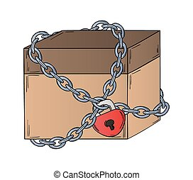 closed paper box with chain and lock