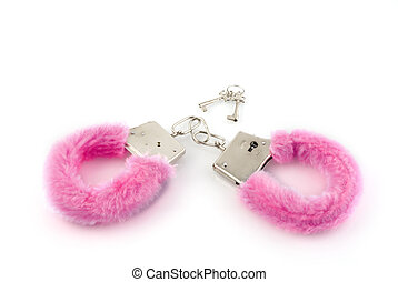pink handcuffs - closed pink handcuffs with keys