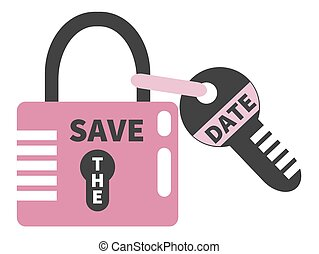 Closed pink padlock and key with words SAVE THE DATE. Design element