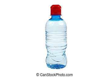 closed plastic bottle with water on white background