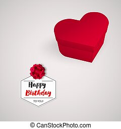 Closed red box in the shape of a heart, Birthday gift. Realistic vector illustration