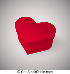 Closed red box in the shape of a heart, Realistic vector illustration