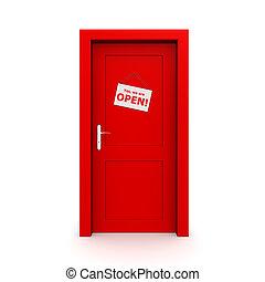 Closed Red Door With Door Sign