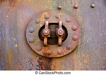 Closed rusty hatch - Backgrounds and textures: closed hatch...