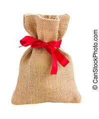 closed sack bag with red bow