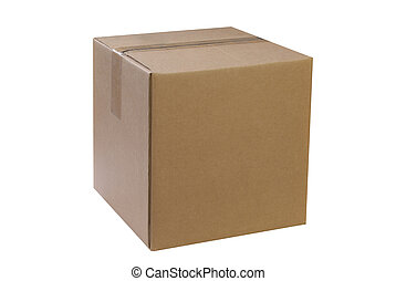 Closed shipping box isolated on a white background