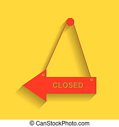Closed sign illustration. Vector. Red icon with soft shadow on golden background.