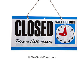 Closed Sign on a white background