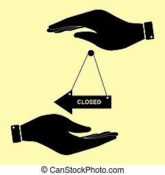 Save or protect symbol by hands. - Closed sign. Save or...