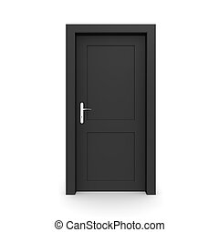 single black door closed - door frame only, no walls