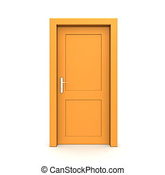 Closed Single Orange Door - single orange door closed - door...
