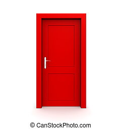 single red door closed - door frame only, no walls